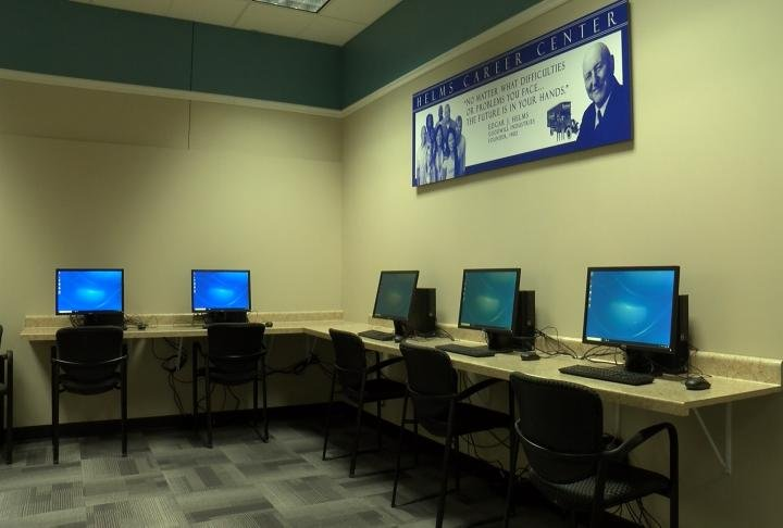 Computers and other tools in the center.