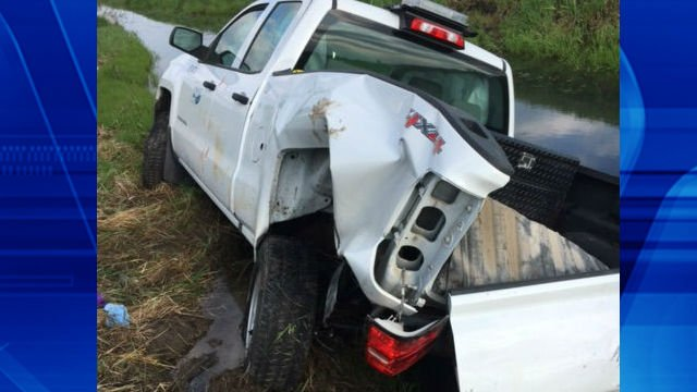 The truck that was hit at the accident scene. This photo is courtesy of MoDOT.