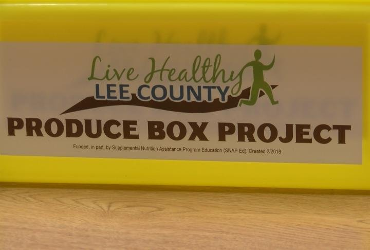 Yellow boxes that people can drop fresh produce in.