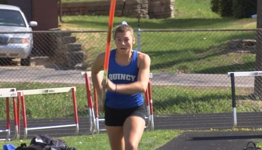 Quincy's Maggie Schutte secured a spot at state in three different events despite a fractured right foot.