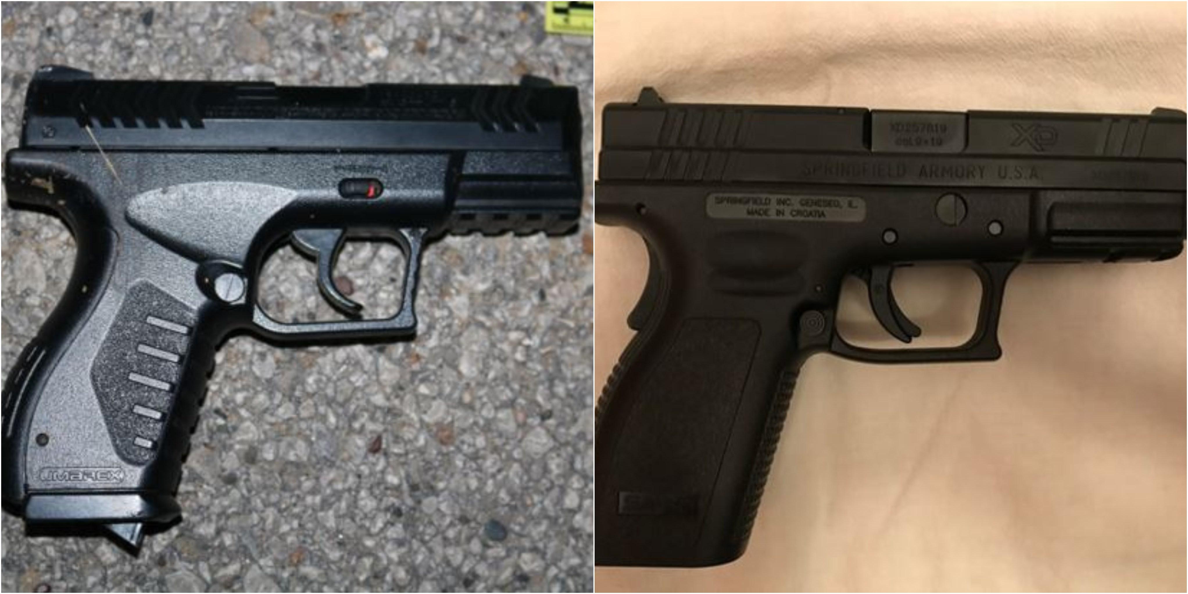 Pellet gun (left) Real gun (right)