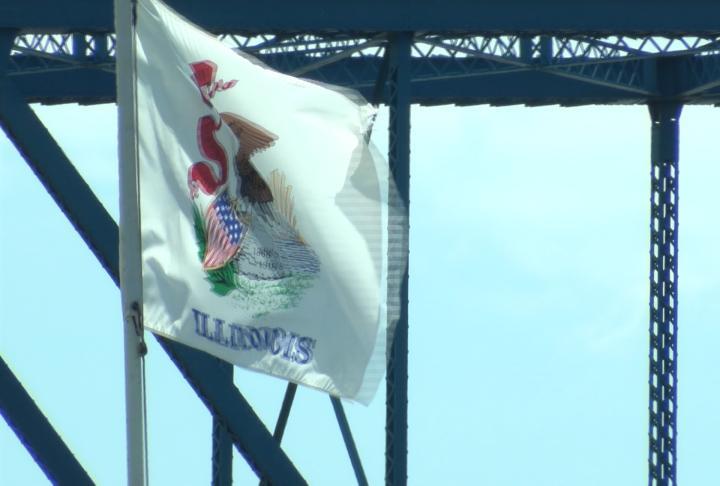 Illinois Flag on the riverfront.