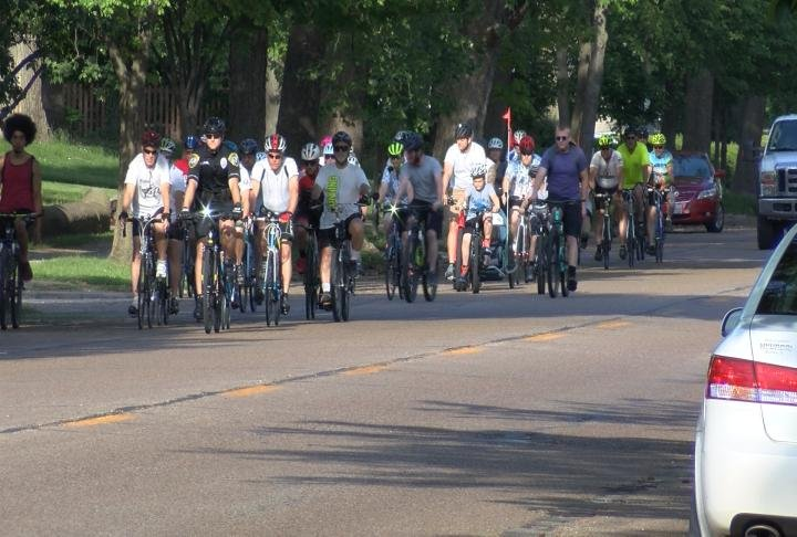 The cyclists ride in silence to honor other cyclists who have been killed or injured while riding their bicycle on a public roads.