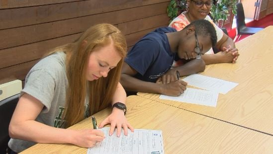 Quincy High's Katie Vogler and Maurice Silas pledged to continue their careers in track on Wednesday.