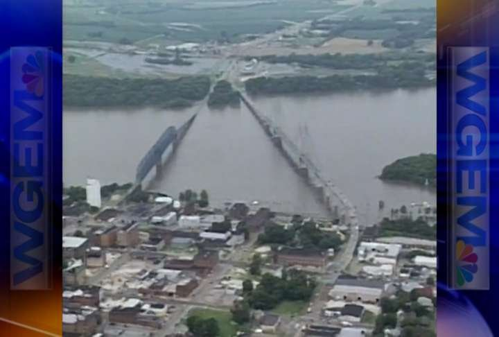 Quincy bridges during the flood of 1993.
