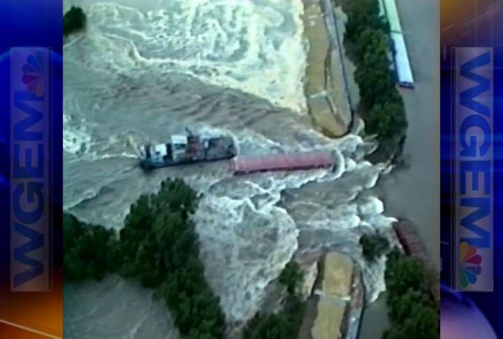 Helicopter captures footage of the West Quincy levee break.