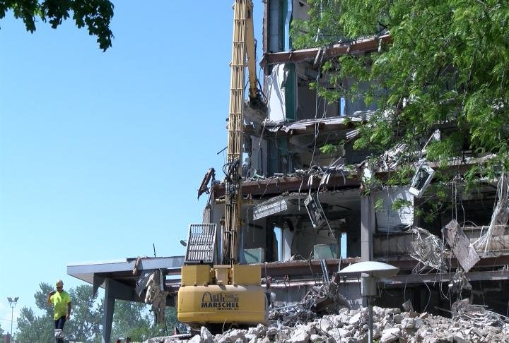 Demolition continues on the former St. Mary's Hospital in Quincy