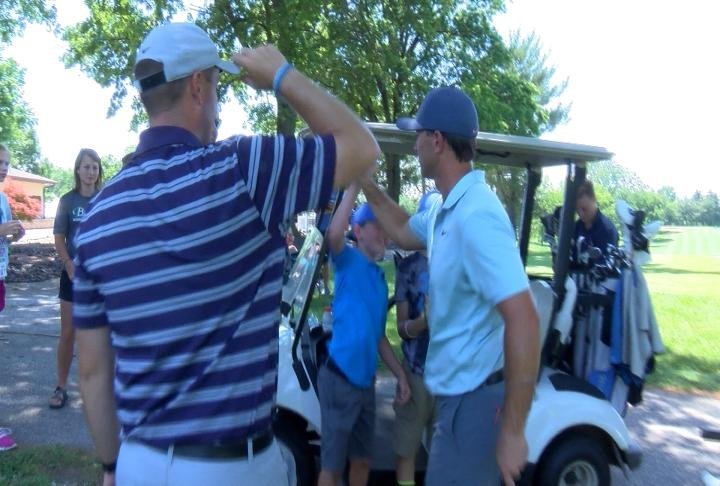 Luke Guthrie interacts with fans at Monday's Pro Am