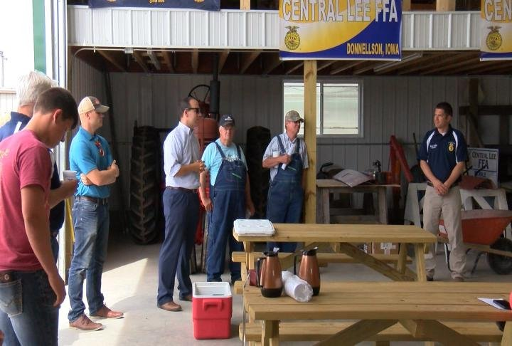 An FFA group joins other Lee County farmers at a meeting Thursday with Iowa Congressman Dave Loebsack.