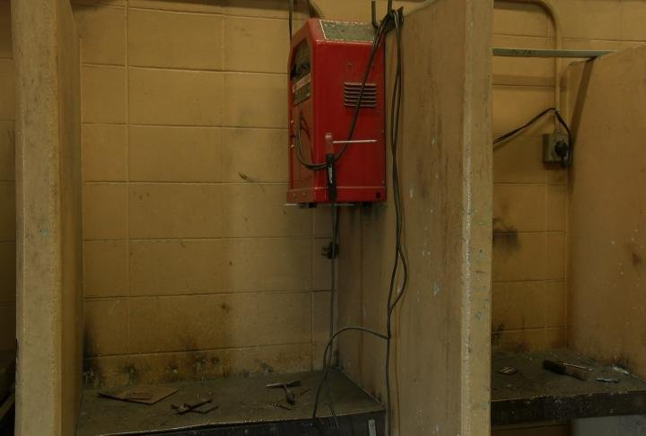 One of the welding stations in the ag facility