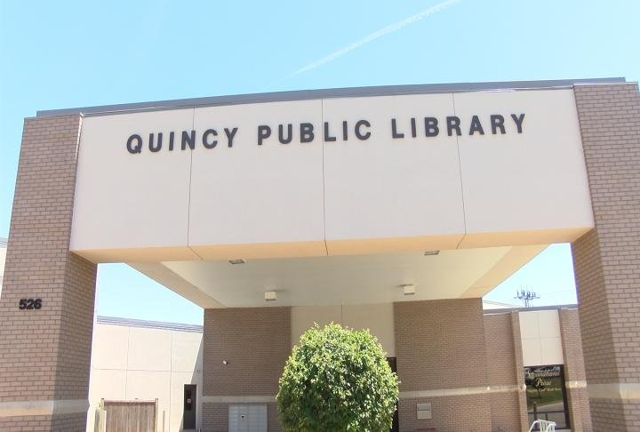 The entrance to the Quincy Public Library in downtown Quincy.