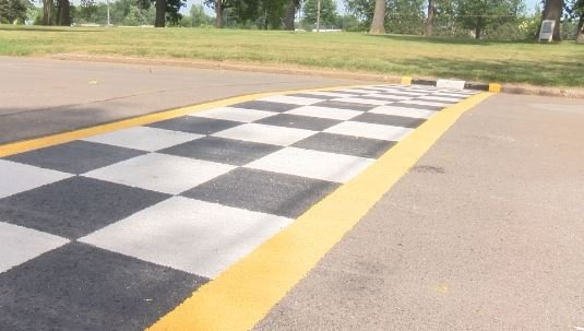 The checkered finish line is in place for this weekend's Quincy Grand Prix in South Park.