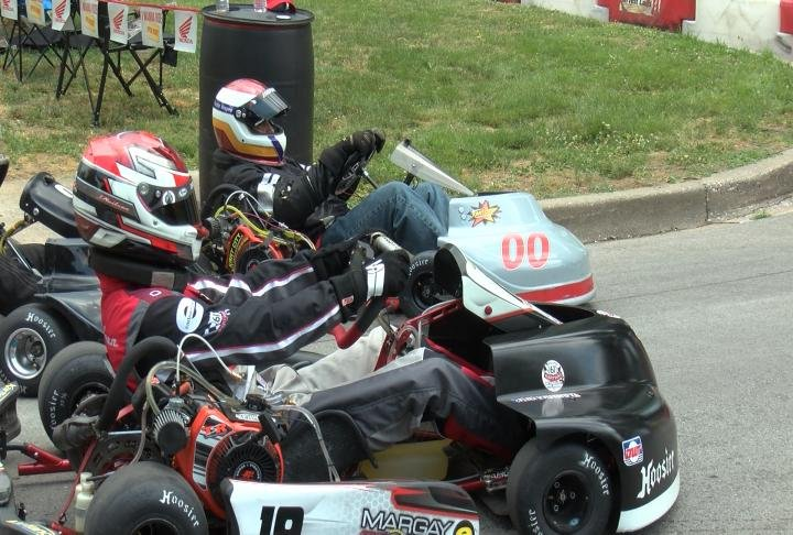 Drivers preparing for practice at the Quincy Grand Prix