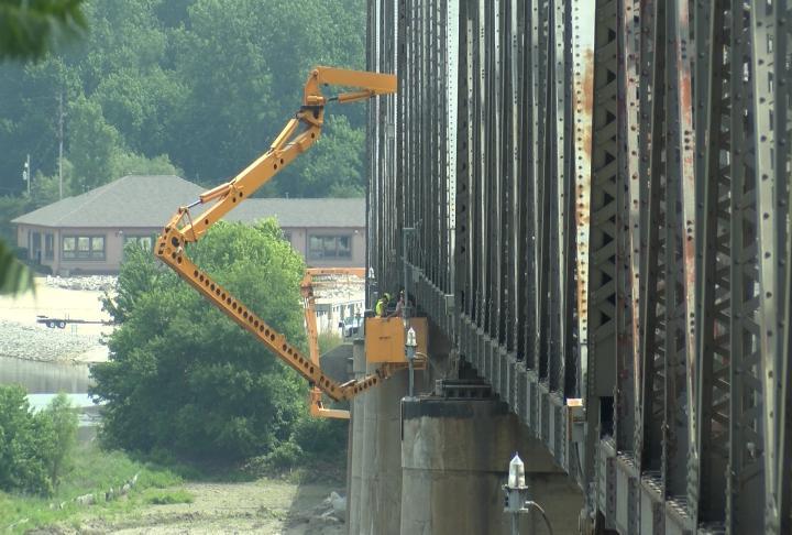 Crews inspecting the bridge.
