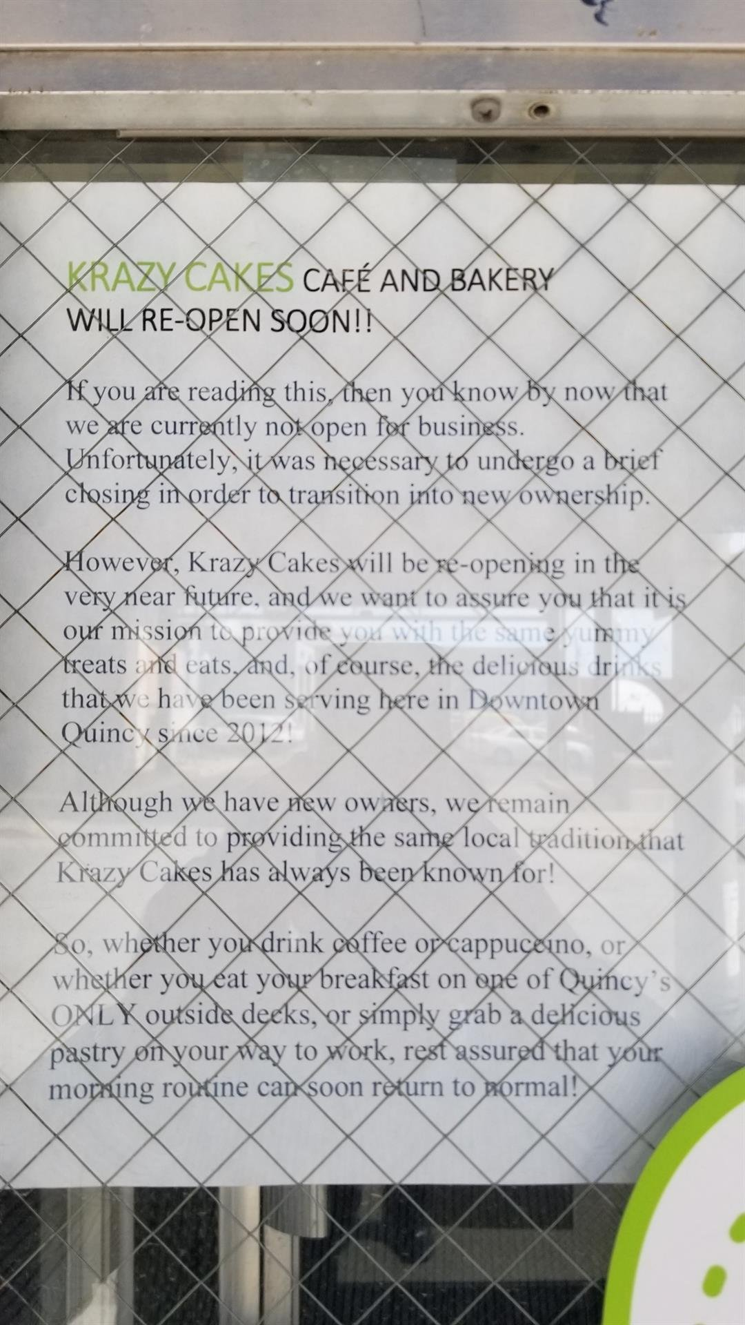 Sign on the door at Krazy Cakes