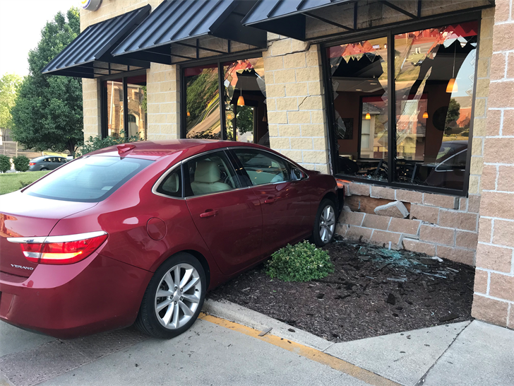 The wall on one side of this Quincy Burger King restaurant shifted after this Buick hit the fast-food restaurant Friday night.