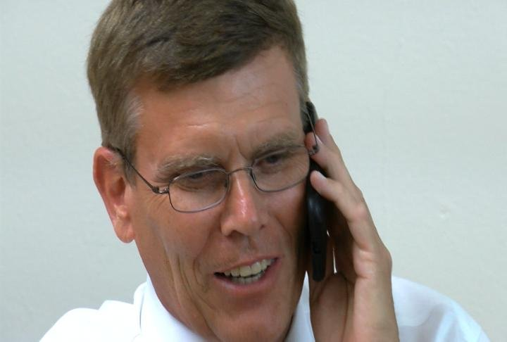 Lyndon Bode talking on the phone.