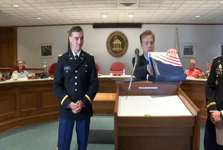 A local West Point graduate received a special gift from Quincy Mayor Kyle Moore.