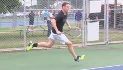 Ryan Schnack works his way into Sunday's men's singles championship at the Quincy City Tennis Tournament Saturday.