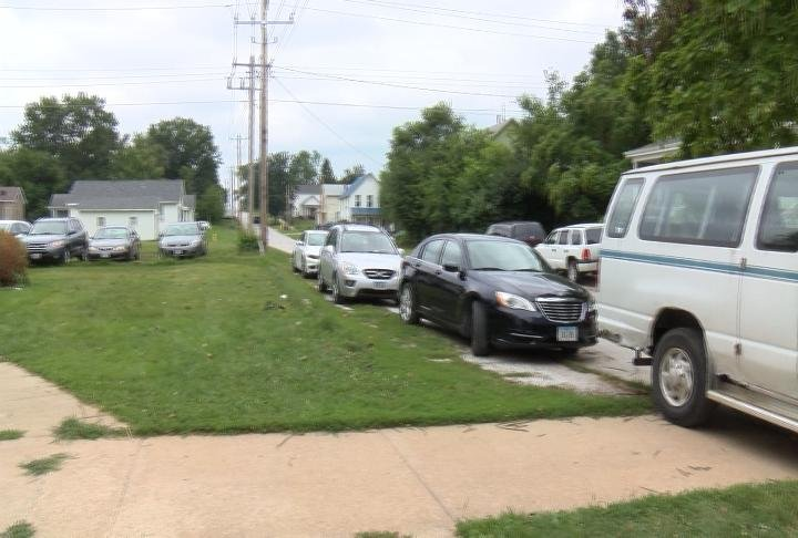 The parking around the church was packed for the event.