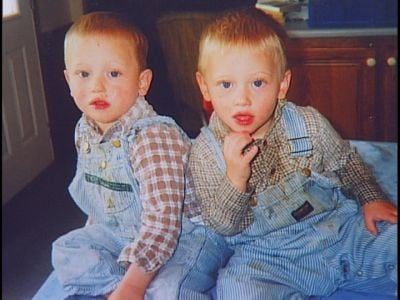 This older photo shows twin brothers Christian (left) and Jason Baucom together. Christian's body was found in a pond Wednesday after last being seen Tuesday. Jason drowned in a different pond on Aug. 25, 2011.