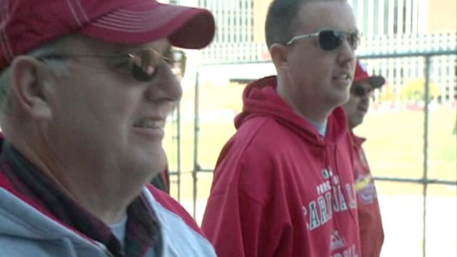 Rick and Seth Minter made the trek to St. Louis for Sunday's NLDS opener to spend time together and share their love for the Cardinals.