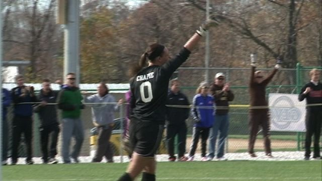 QU goalkeeper Jodi Chapie made the game winning save in PK's against Drury on Sunday.