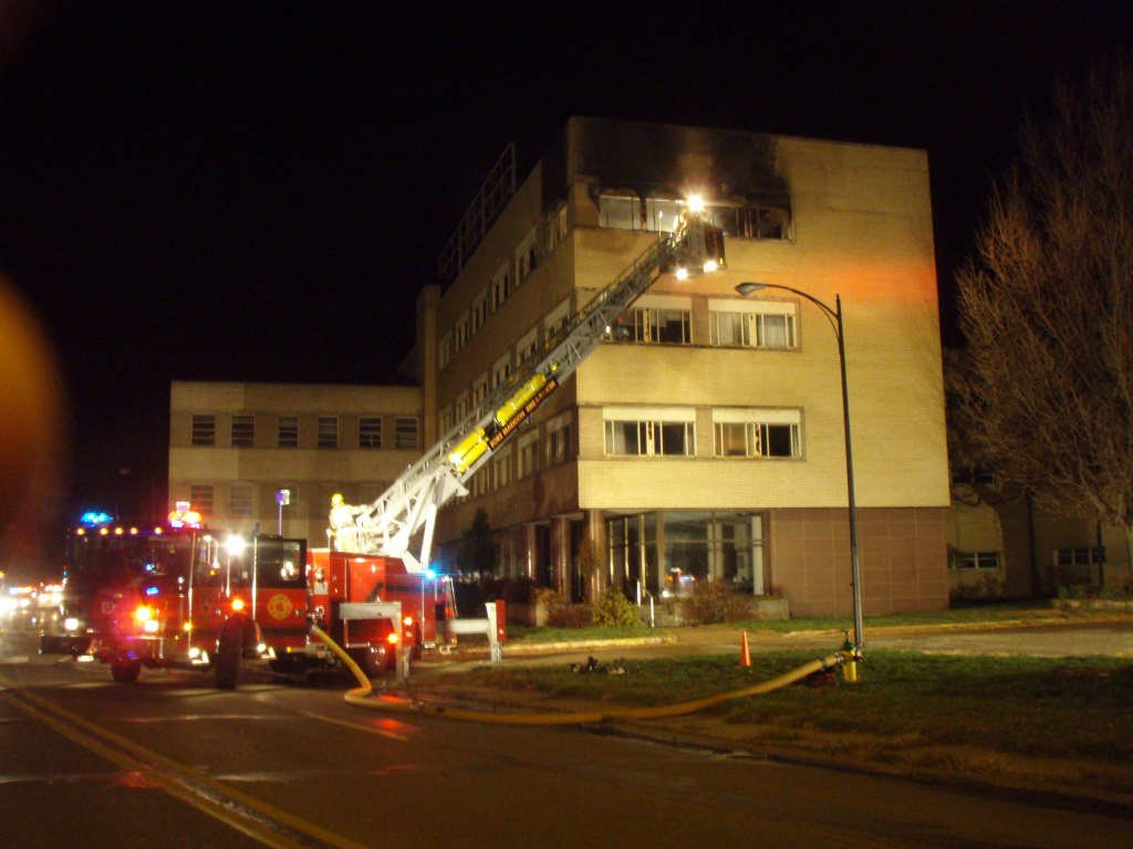 The upper floor of the old Sheaffer Pen Building caught fire in mid-November. (WGEM News)