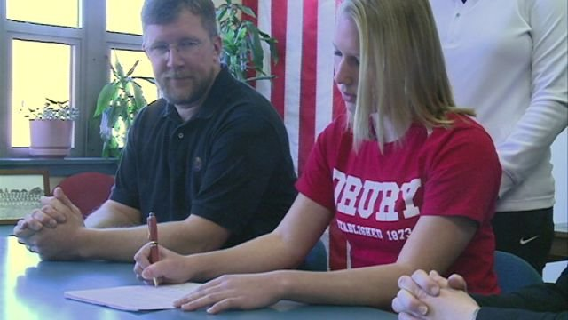 Hannibal's Kay Gieseke signed her national letter of intent with the Drury University swim program on Wednesday morning.
