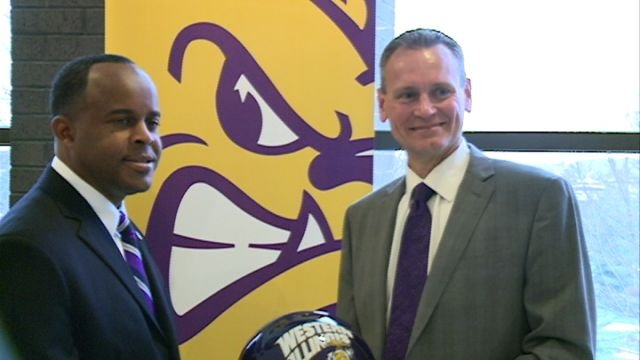 Bob Nielson (right) stands with WIU president Dr. Jack Thomas following Wednesday's press conference announcing Nielson as the Leathernecks new football coach.
