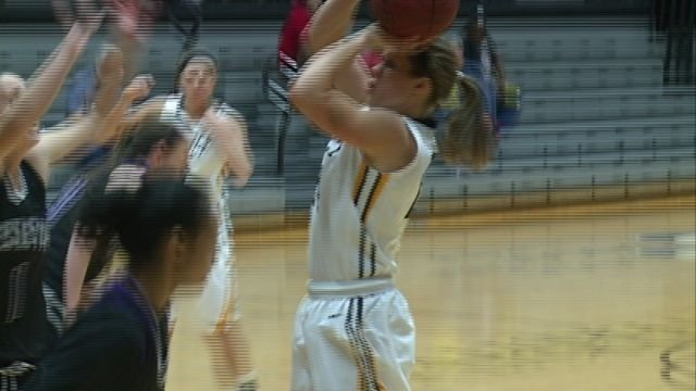 Quincy University's Lucy Cramsey is the GLVC Player of the Week after averaging 17 points and 12.5 rebounds in two wins last week.