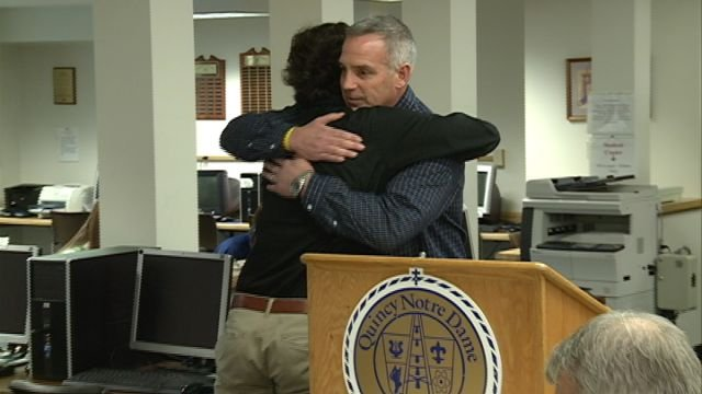 Father and son, Greg and Taylor Reis, share a hug during Thursday's announcement Taylor is heading overseas to continue his soccer career.