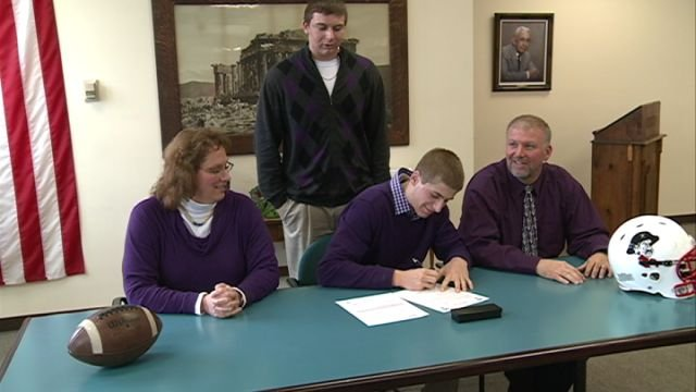 Hannibal senior Dalton Powell signs his letter of intent to play football for the Truman State Bulldogs.