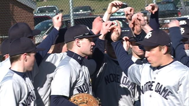 The QND Raiders scored 10 runs in the first inning en route to a 15-2 win over Highland on Monday.
