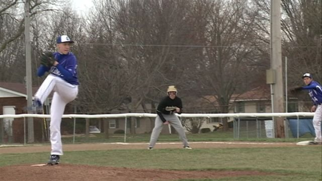 Quincy High's Andrew Eilers picked up a win on the mound and drove in the winning run in the Blue Devils split with Galesburg on Saturday.