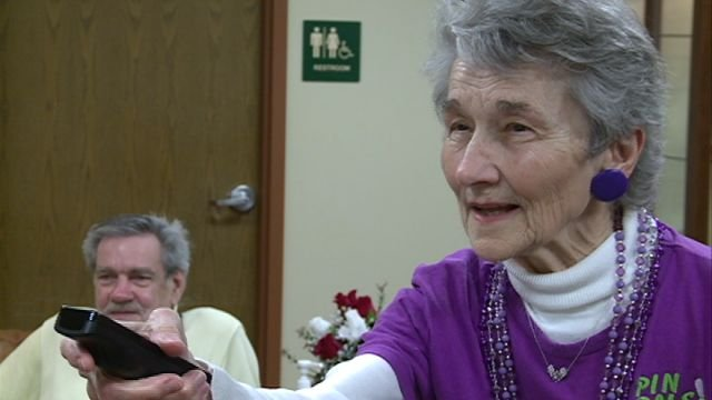 Ginny Kroeter lines up her strike during a recent Wii Bowling event at the Quincy Senior Center.