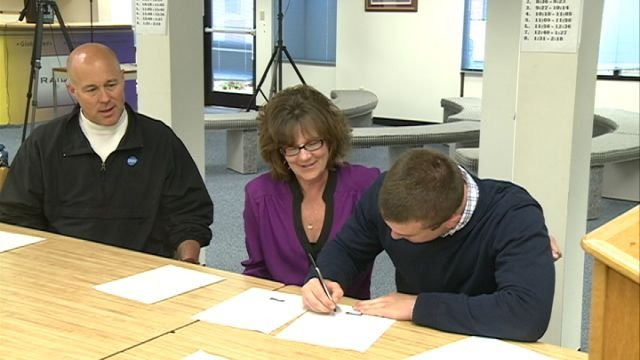 QND senior Connor Obert signed his national letter of intent with St. Ambrose football on Friday afternoon.