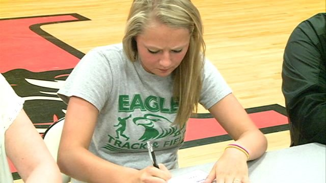 Palmyra track standout Evie Miles signed on with the Central Methodist track and field team on Wednesday afternoon.