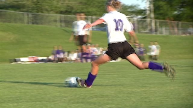 Alicia Riffle lines up her second half goal during Keokuk's 4-2 loss to Burlington in Thursday's Class 2A region quarterfinals.