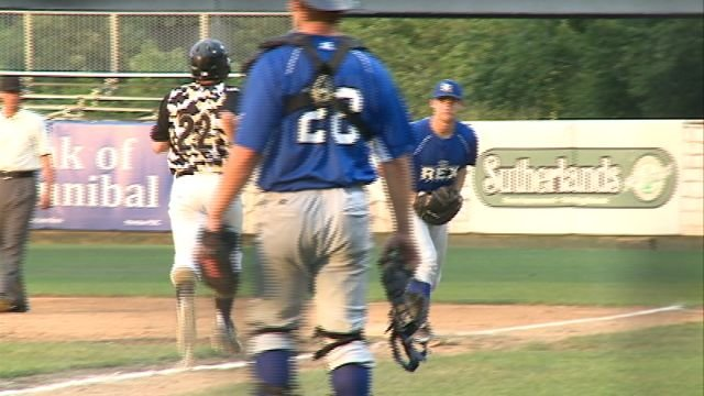 The Terre Haute Rex scores four unanswered runs late on Saturday night en-route to a 7-3 win over Hannibal.