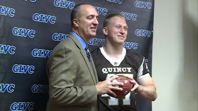 QU head coach Tom Pajic and senior defensive lineman Cory Connolly represented the Hawks for GLVC Media Day 2013.