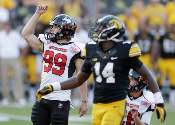 (AP Photo) Former Hannibal Pirate Mat Sims kicking the game winning field for in NIU's 30-27 win at Iowa.