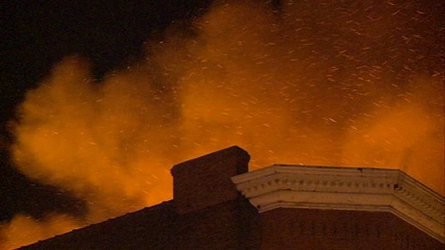 Embers blowing west caused concern for neighboring buildings