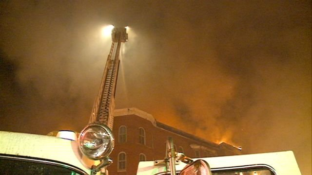 Heavy smoke caused the nearby Lincoln-Douglas Apartments to be evacuated