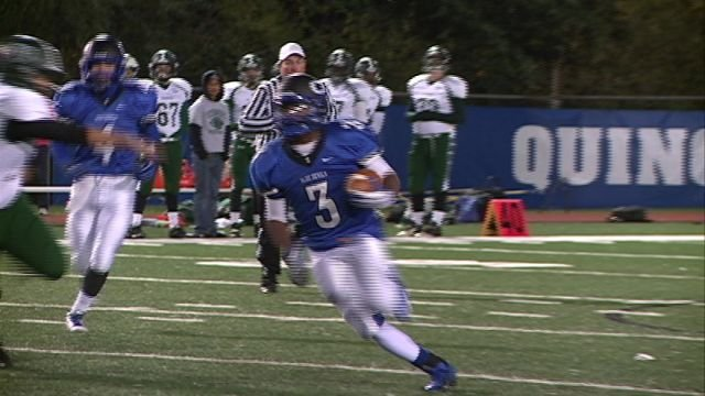 Malique Robbins and QHS dismantled Peoria Richwoods winning 46-6 to finish the regular season at 7-2.