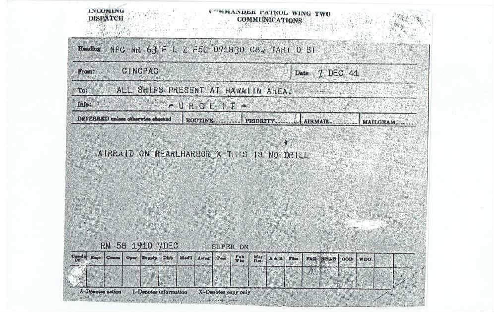 """A copy of the telegram sent by David Montgomery stating """"Air raid on Pearl Harbor. This is no drill"""""""