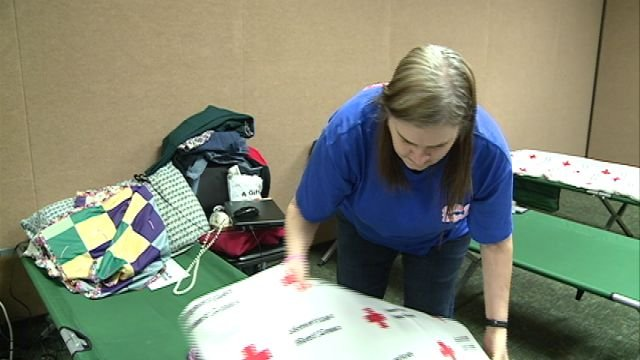Gloria Oenning settles in at the Red Cross shelter
