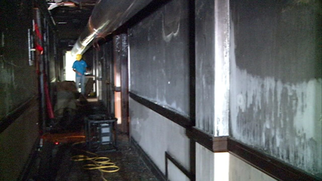 Damage on the fourth floor of the Hotel Elkton.