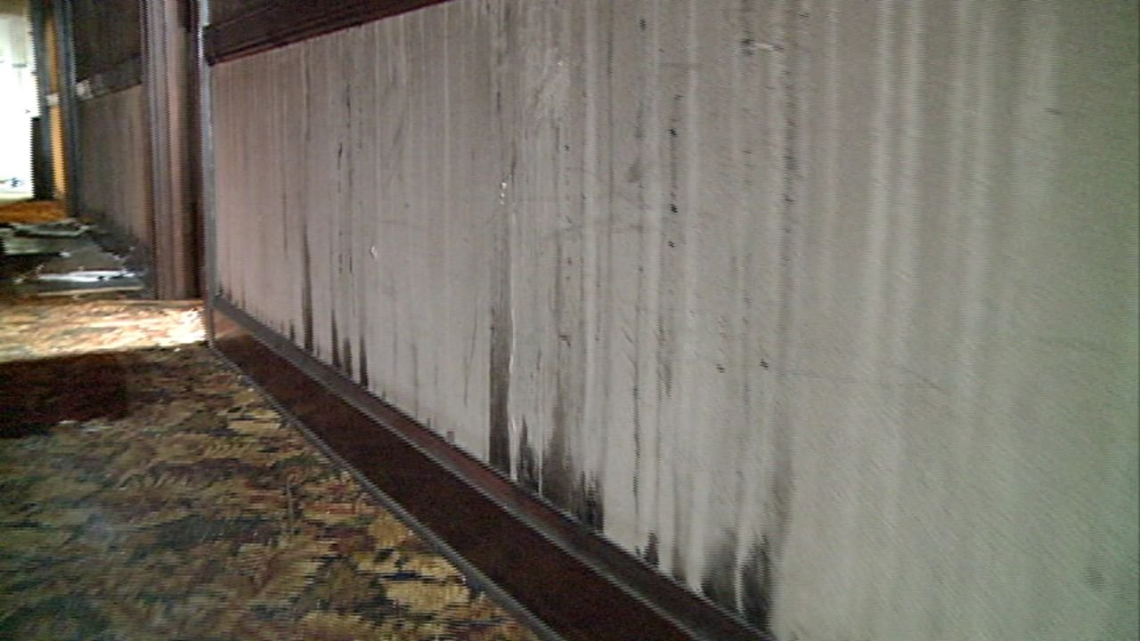 Soot covered walls inside Hotel Elkton.