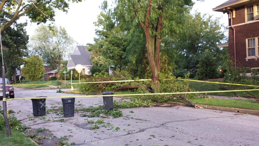 A power line was down across street at corner of 20th and Spring.